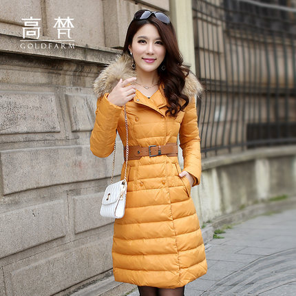 Winter Jacket Women Slim Fur Collar Thickening Coat Hooded Medium-Long Duck Down Parka Plus Size Outwear Casual Overcoat H4224