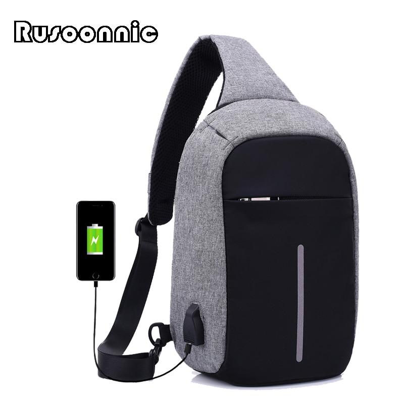 Rusoonnic Canvas Men Chest Pack Anti Theft Single Shoulder Strap Crossbody Bags For Women Sling Shoulder Bag Back Pack Travel