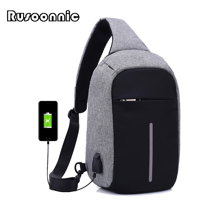 Rusoonnic Canvas Men Chest Pack Anti Theft Single Shoulder Strap Crossbody Bags for Women Sling Shoulder Bag Back Pack Travel