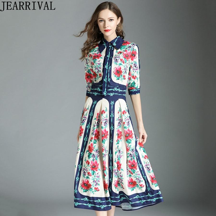 Runway Floral Summer Dress 2018 New Fashion Women Turn-down Collar Half Sleeve Vintage Print Slim Casual Maxi Dress Vestido