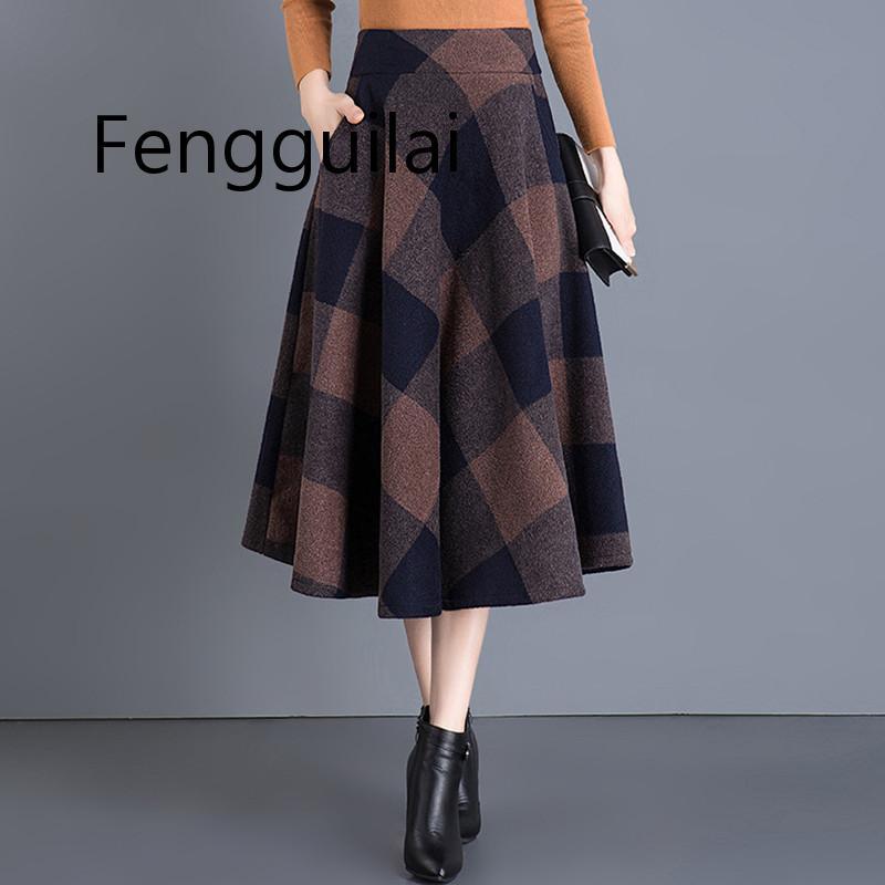 Купить женская винтажная клетчатая юбка шерстяная средней длины с высокой