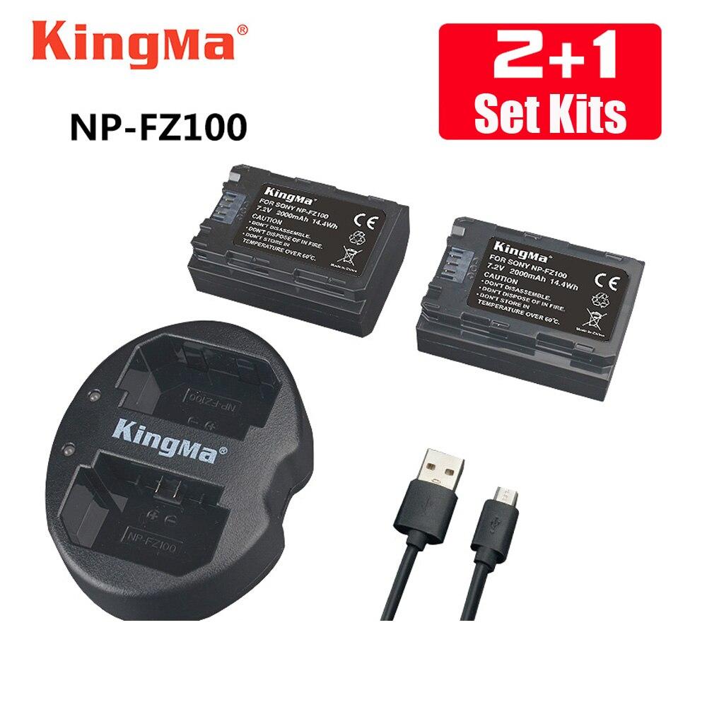 KingMa 2 pcs NP-FZ100 Batterie + np fz100 Double Batteries chargeur pour SONY ILCE-9 A7m3 a7r3 A9 7RM3 BC-QZ1 micro caméra unique