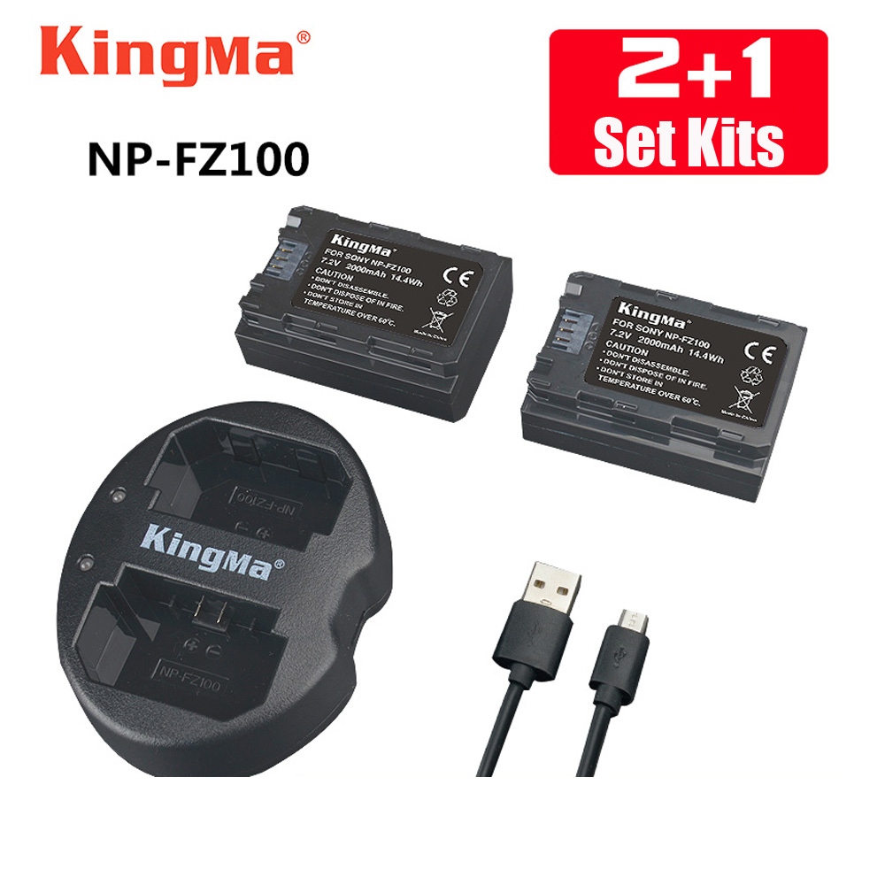 KingMa 2pcs NP-FZ100 Battery+np fz100 Dual Batteries charger for SONY ILCE-9 A7m3 a7r3 A9 7RM3 BC-QZ1 micro single camera