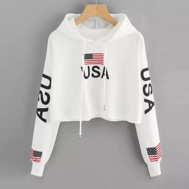 Feitong 2018 Women Casual Drop Shoulder American Flag Print Hoodie Sweatshirt Top Blouse New arrival