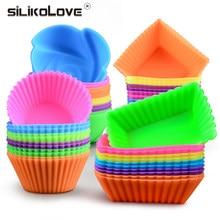 Moules à muffins en Silicone de haute qualité, antiadhésifs, doublures de forme de Cupcake, moule à gâteau réutilisable, à gelée, à Pudding, à œufs, 12 pièces
