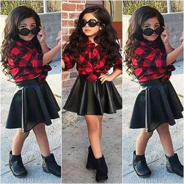 be1f5ca3d8b New Elegant Girls Princess Clothes Sets Brief Formal Plaid Shirt Tops Red  Leather Skirt Summer Outfits Clothing Set 1-6 Year