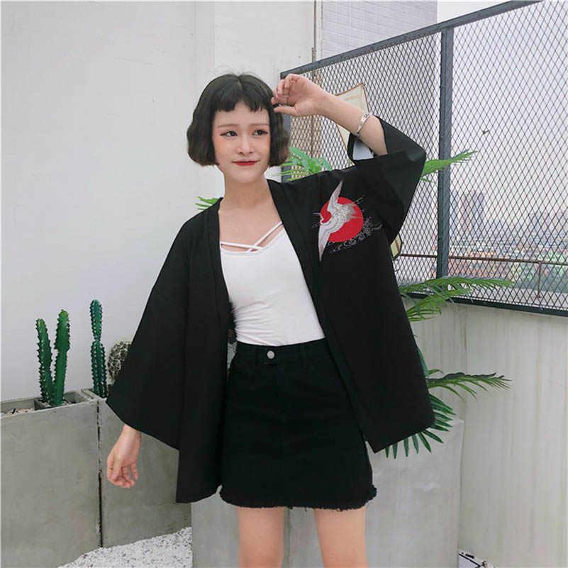 Nicemix 2019 Baru Korea Fashion Wanita Kimono Dicetak Crane Kimono Angin Cina Memulihkan Cara Kuno Tipis Mantel Pelindung Sinar Matahari