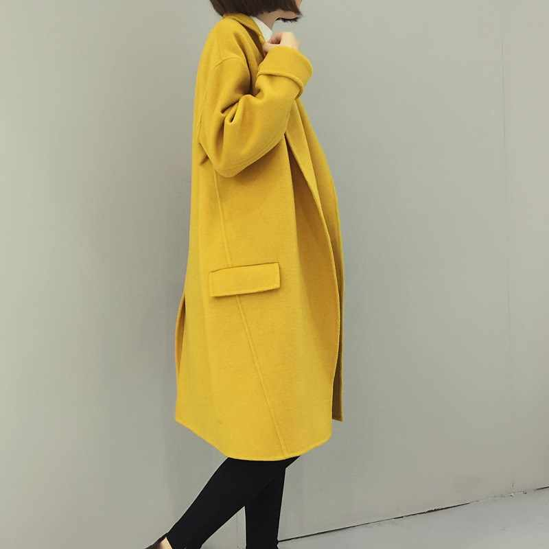 Nice Autumn Women Casual Solid Split Yellow/Army Green Color Coat Wool Blend Pocket Long Sleeve Loose Overcoat