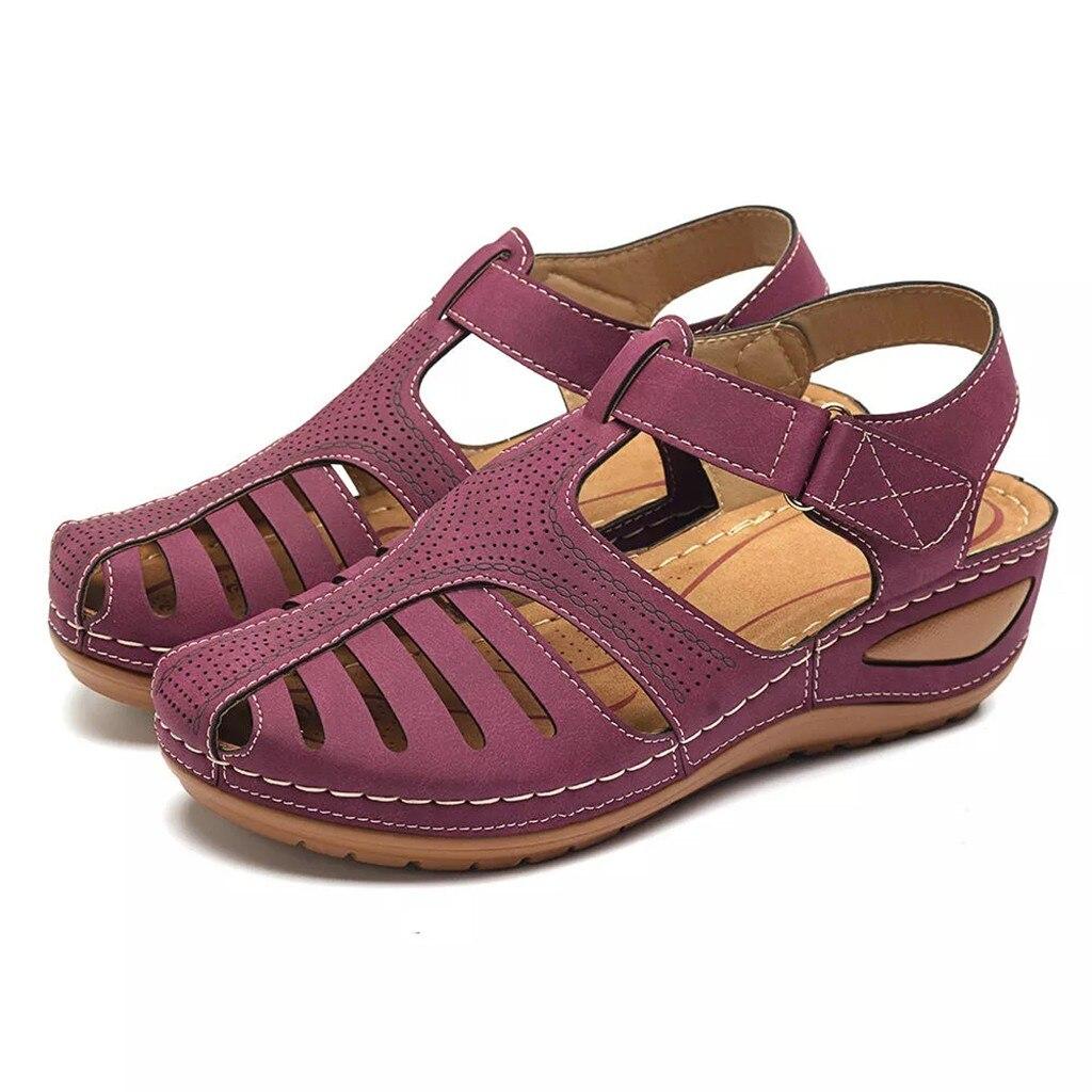 HTB1CrzjeEuF3KVjSZK9q6zVtXXaR Women's Sandals Summer Ladies Girls Comfortable Ankle Hollow Round Toe Sandals Female Soft Beach Sole Shoes Plus Size C40#