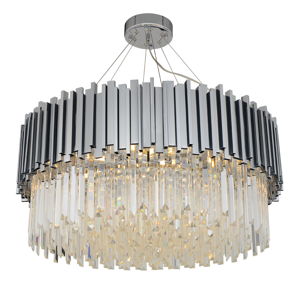 New modern chandelier lighting chrome polished steel crystal lamp luxury round living dining room led cristal lustre