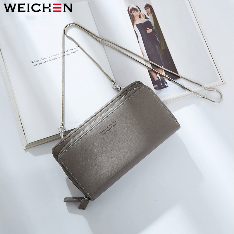 WEICHEN Famous Luxury Brand Long Women Leather Wallets Woman Clutch Coin Purse Phone Handbag Metal Chain