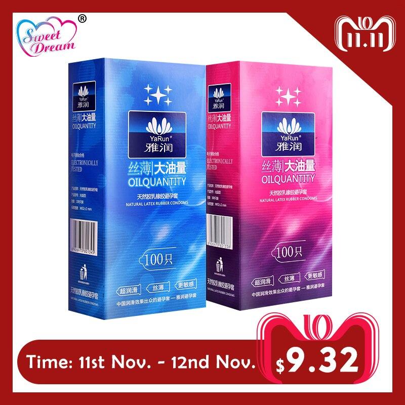 Doce Sonho de Vida Preservativos 100 pçs/lote Látex Natural Suave Lubrificado Preservativos Contracepção para Homens Sex Toys Sex Produtos LF-011