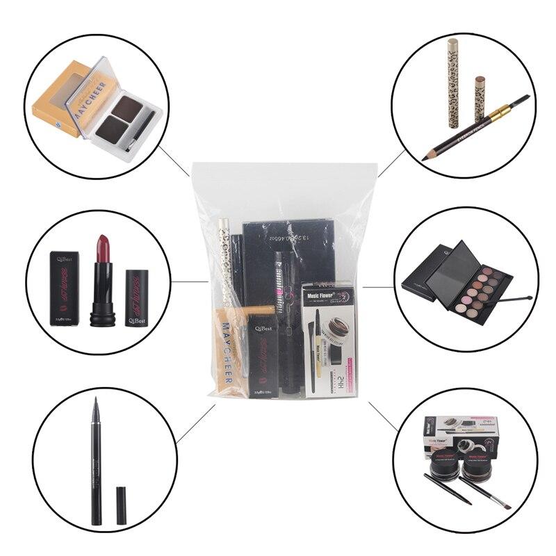 7pcs/set Qibest Eye Makeup Set include Eye Shadow eyeliner gel eyeliner pencil eyebrow pencil mascara eyebrow powder lipstick