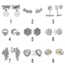 2c78dddd9 925 Silver Dazzling Daisies Stud Earrings For Women Delicate Sentiments  Elegance Majestic Feathers Earring fit Pandora Jewelry