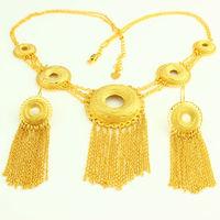 New Ethiopian Jewelry Set 24K Gold Plated Necklace Earring Jewelry African Nigeria Arabic Bridal Wedding Jewelry