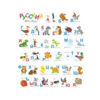 Russian Alphabet Wall Stickers Cartoon Animal Letters Decor For Kids Room Baby Nursery Bedroom Accessories School Wall Decal