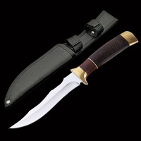 ToughKeng Exquisite 440c Steel Tactical Hunting Fixed Blade Knives Double Brass, Wooden Handle Classic Collection Knife
