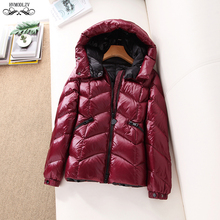 Womens Winter Solid Color Down Jacket For Girls 2019 New Hooded Light And Thin Fashion Coat Female Basic Puffer HJ170