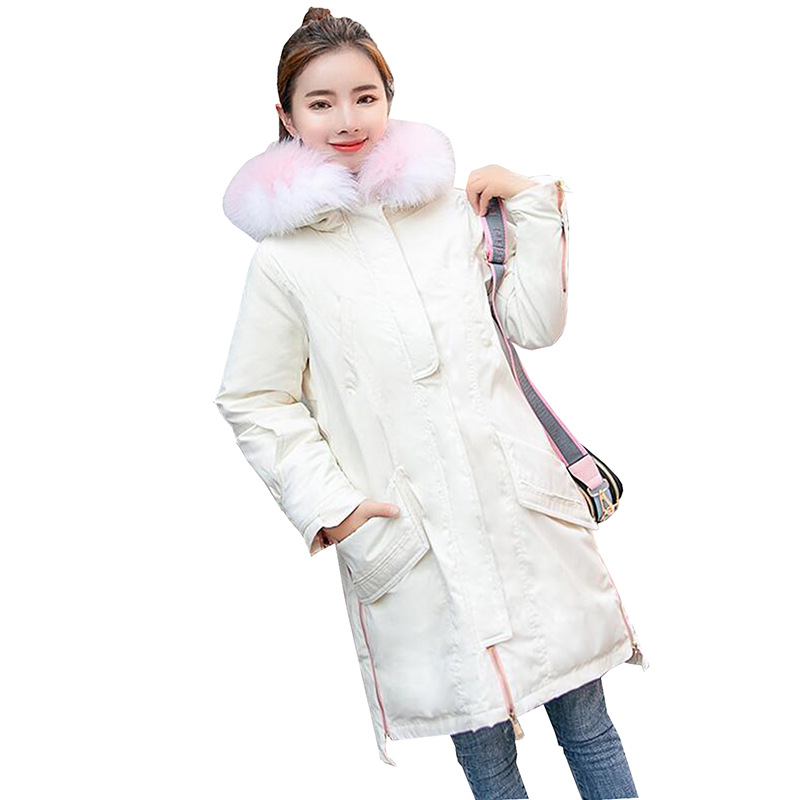 2018 Winter high quality Women White Duck Down jacket Female Real fur collar Receive waist Thick Long Down jacket Coat Plus size
