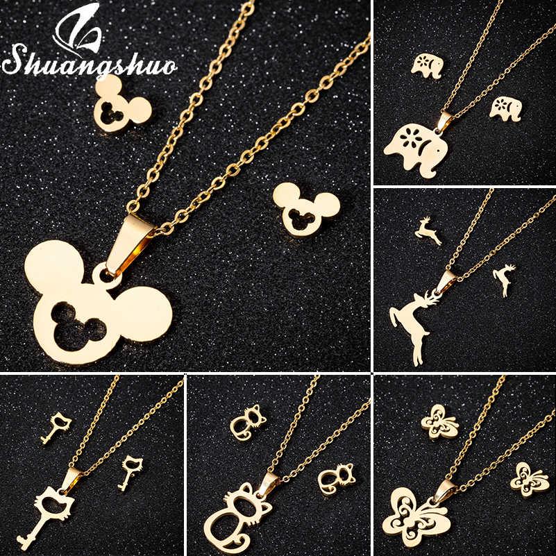 Shuangshuo moda coração pingentes colares corrente de ouro gargantilha colar para mulher gargantilhas colares de aço inoxidável jóias femme