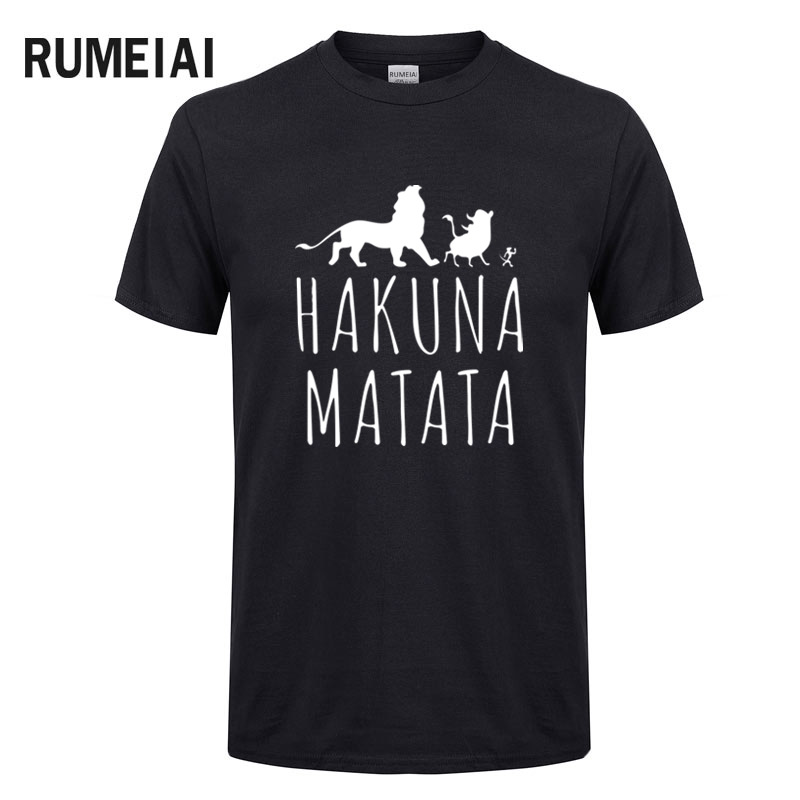 HAKUNA MATATA Men T Shirt 2019 Summer 100% Cotton High Quality Men T Shirt Slim Fit Casual Anime T-Shirt The Lion King Tops Tees