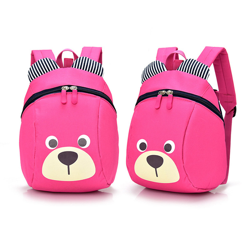 Fashion Children Backpack Anti-lost Canvas Bag Cartoon Animal Bear Pattern Kindergarten Kids Baby School Bags BS88