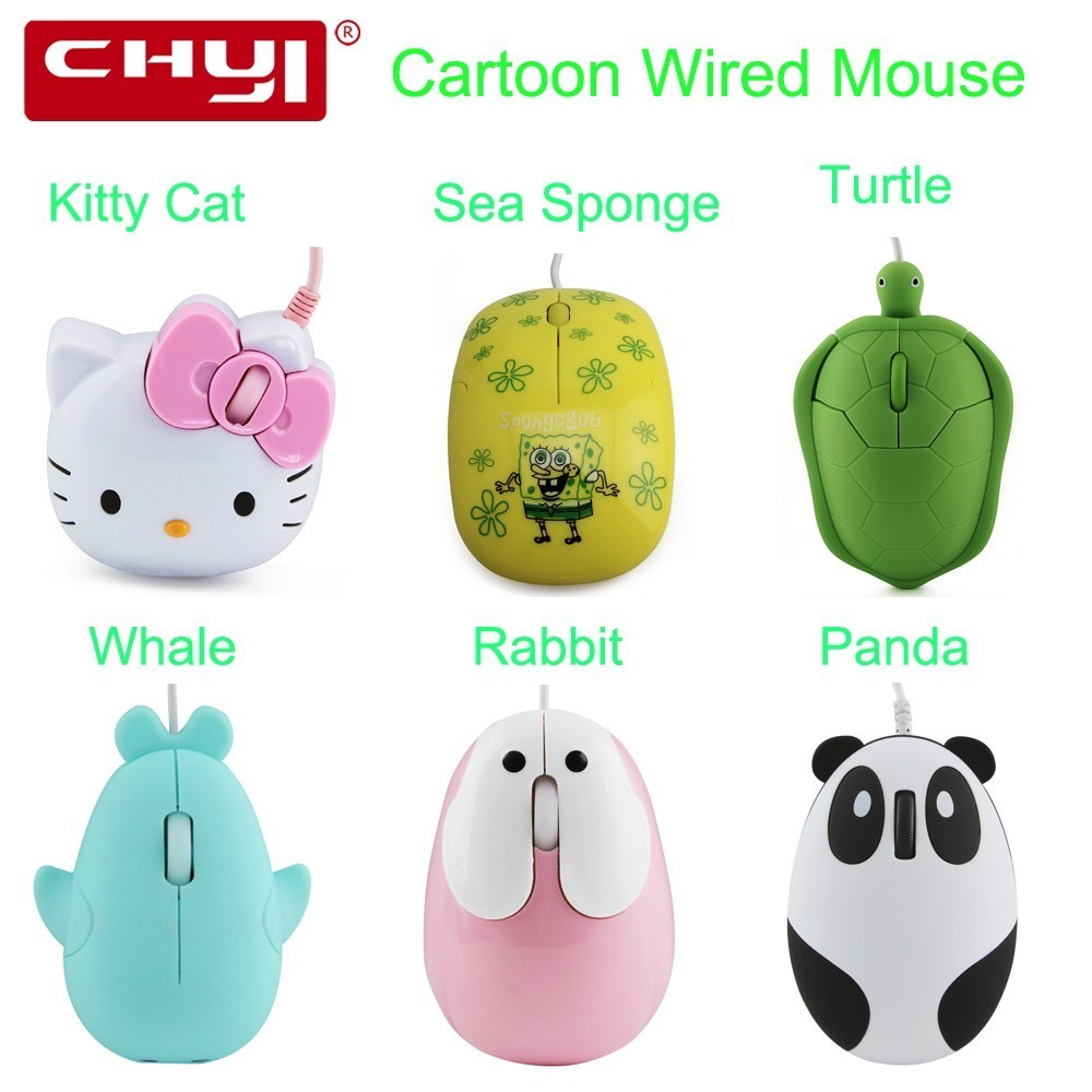CHYI Cartoon Wired Mouse Ergonomic 1600 DPI Comic Animation Cute Animal Zoo Aquarium Mice Kitty Cat Dolphin Tortoise Bear For PC