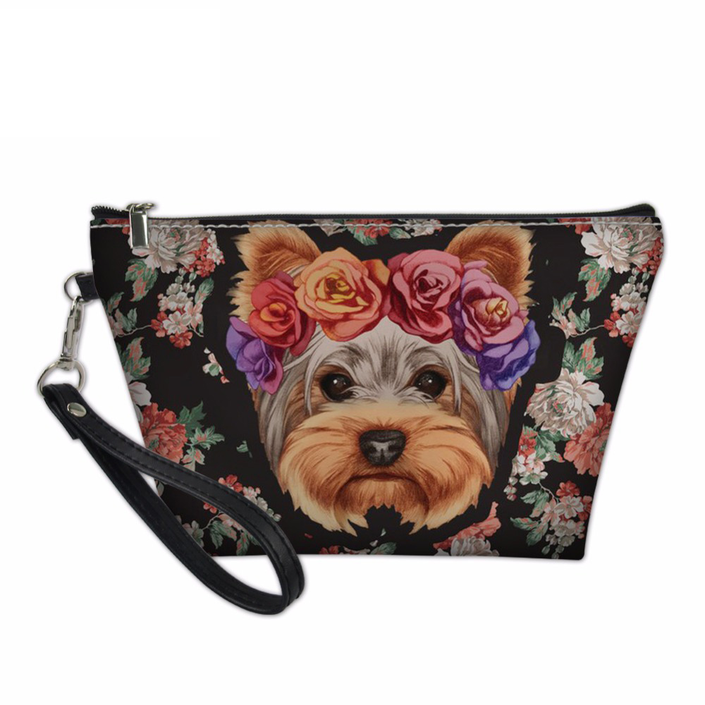 Noisydesigns Bags for Ladies Beauty Makeup Bag Youkshire Terrier Pattern Organizers Bags Animal Dog Make Up Case Toiletry Bag