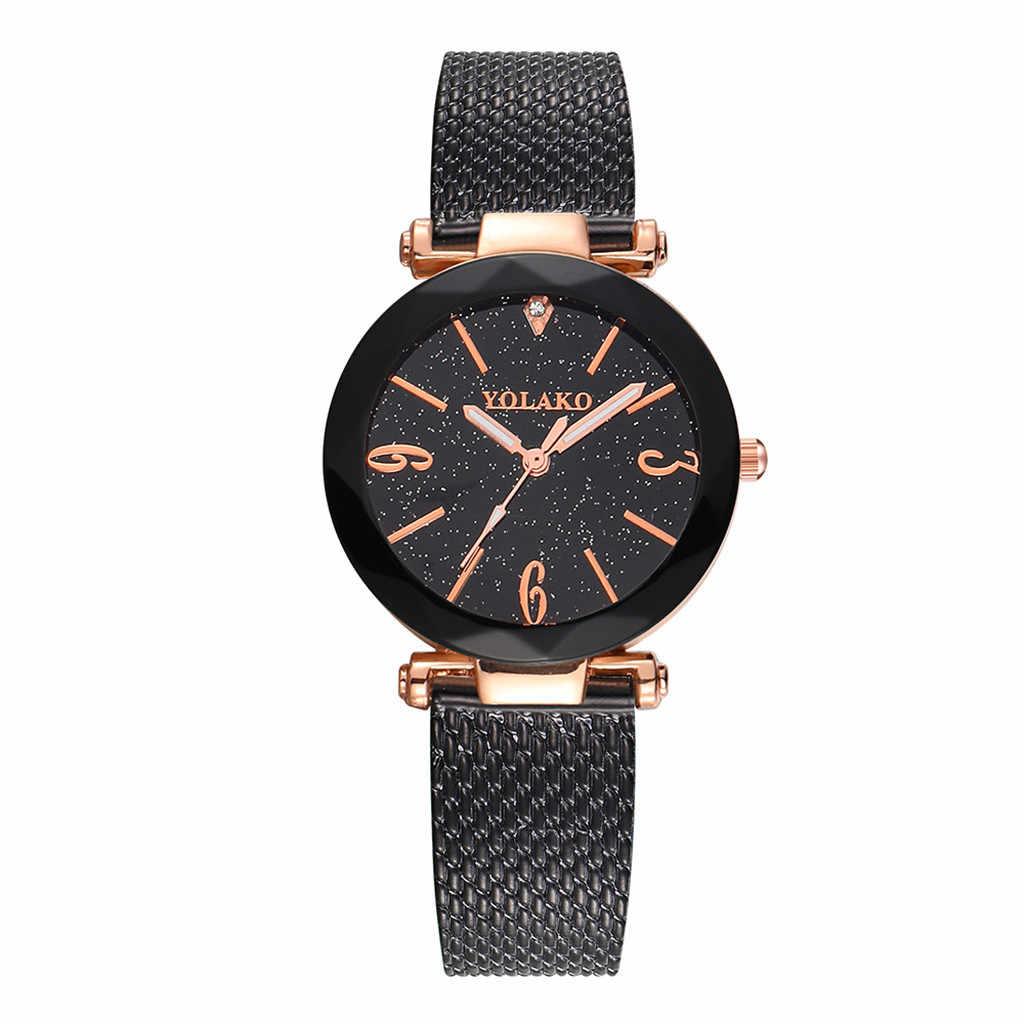 YOLAKO נשים מקרית של קוורץ רצועת עור חדש רצועת שעון אנלוגי שעון יד שעון נשים נירוסטה zegarek damski 50