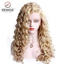 Eewigs peruca cabelo sintético frontal, parte livre, loiro, mão, amarrado, cor encaracolada, com linha fina natural, resistente ao calor mulheres