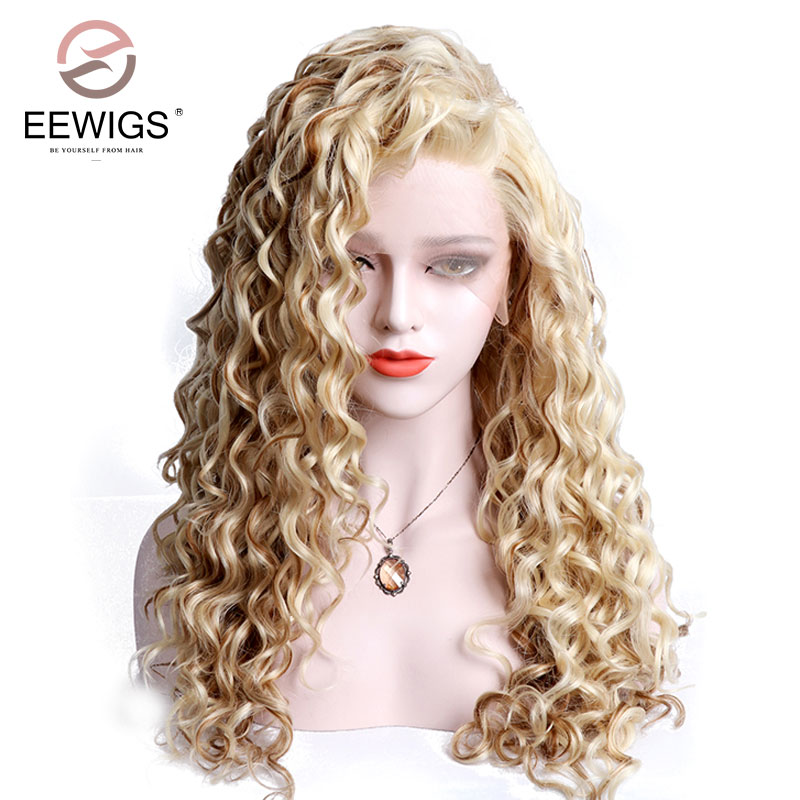 Synthetic Blonde Color Lace Front Wig Curly Mixed Color Hand Tied Long Wig Heat Resistant Fiber For White Women Free Parting