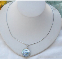 Z5734 REAL 22MM GRAY SOUTH SEA MABE PEARL PENDANT 925SILVER CHAIN Factory Wholesale price Women Gift word Jewelry