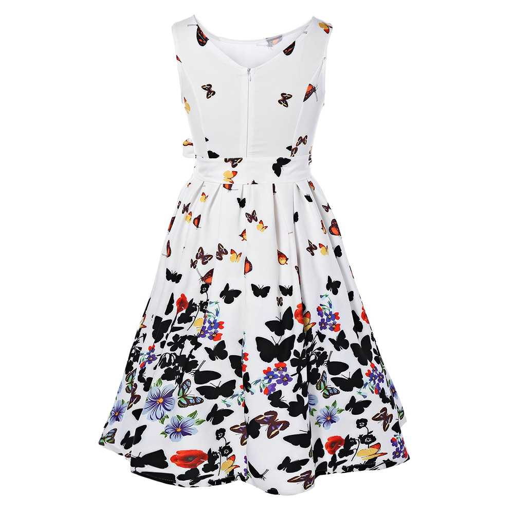 3a50deda94 Kenancy Women Summer Butterfly Floral Print Vintage Dress Sleeveless O Neck  Belt Plus Size Elegant Swing Party Feminino Vestidos