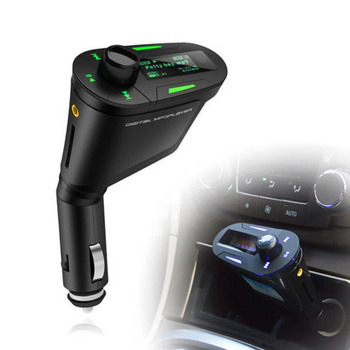 Hot Sale Car Kit MP3 Player car charge Wireless FM Transmitter Radio Modulator Support USB SD MMC Slot green LCD with Remote image