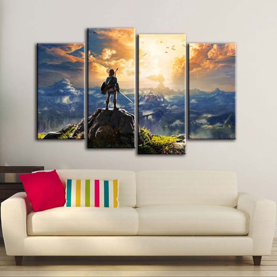 Modern Wall Art Canvas Prints Pictures Home Decor 4 Pieces The Legend of Zelda Poster Abstract Game Paintings Living Room Frames