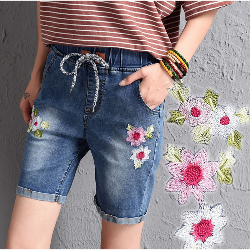 06c44536acd9f Plus Size Floral Embroideried Elastic Waist Wide Leg Short Jeans 3XL 4XL Frayed  Edges Straight Bermuda Denim Shorts Pants -in Jeans from Women s Clothing  ...