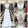 Precioso Encaje Vestidos de Fiesta de Cuello Alto Keyhole Volver Vestido Largo de Dos Piezas de Vestidos de Baile 2017 Vestidos de Fiesta Blanco
