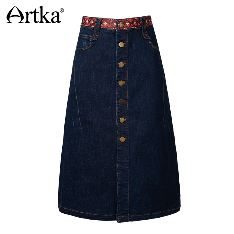 ARTKA 2018 Autumn Women Cotton A line Skirt Exquisite Ribbon Metal Button Design Casual Washed Lady