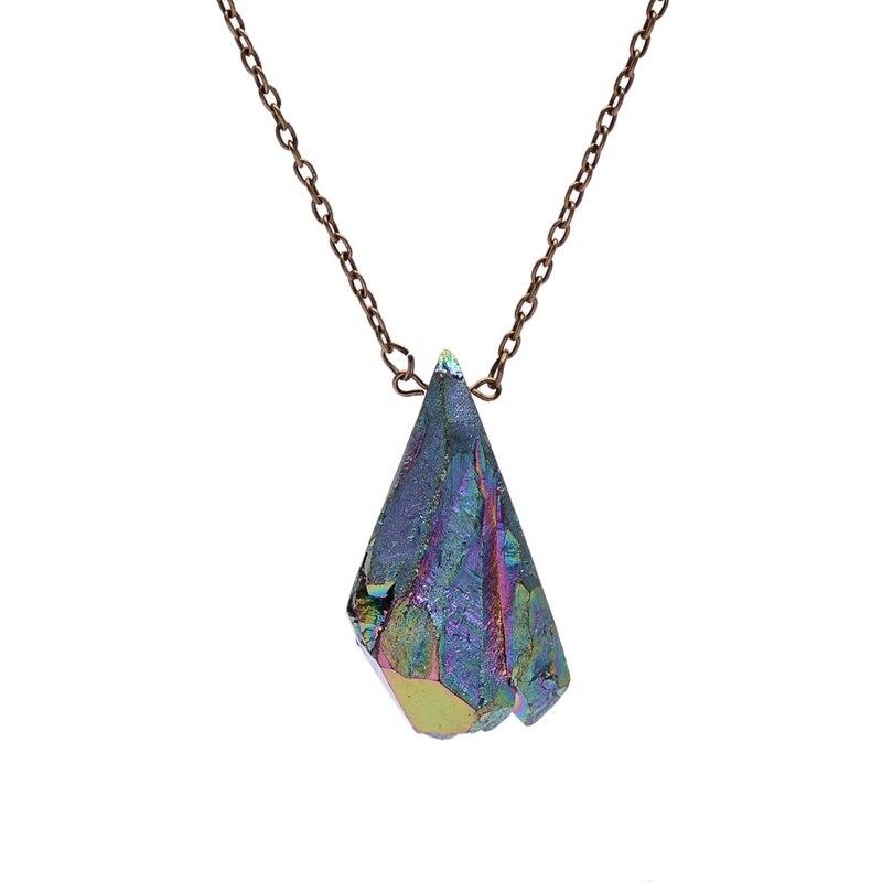 SEDmart Rainbow Titanium Aura Raw Natural Stone Irregular Rough Quartz Antique Bronze Chain Rainbow Colored Pendant Necklace