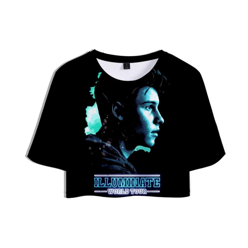 ショーン · メン 3D プリント女性クロップトップスファッション夏半袖 tシャツ 2019 ホット販売の女の子カジュアル流行のセクシーな tシャツ
