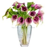 Hochzeitsdekoration, tischdekoration, 25 stücke real touch calla lilien & vase set, weiß orange grün gelb rot rosa lila