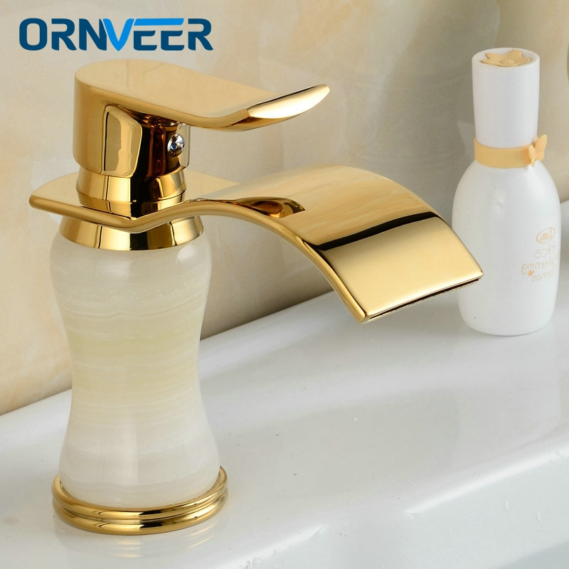 Free Shipping Fancy Style Gold Plated Bathroom Sink Mixer Tap White Marble Body Golden Basin Waterfall Faucet M-024 free shipping wine glass shape grilled white painted tall bathroom waterfall faucet fancy style white basin sink mixer tap w004