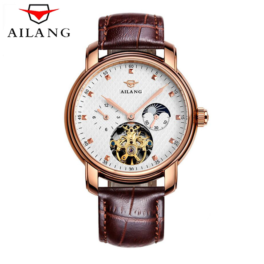 AILANG New 2018 Men Full-automatic Mechanical Watch Moon phase Luxury Fashion Brand Genuine Leather Man Multifunctional Watches AILANG New 2018 Men Full-automatic Mechanical Watch Moon phase Luxury Fashion Brand Genuine Leather Man Multifunctional Watches