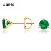 BAIHE Solid 14K Yellow Gold 0.30ct Tsavorite/Tanzania/Ruby/Sapphire/Amethyst/Tourmaline/Blue topaz/Peridot gem stud Earrings