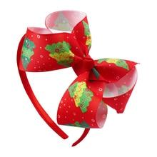 цена Christmas Tree Deer Baby Headbands For Girls Handmade  Baby Hairband Newborn Bow print Flower For Gift Headband Hair Accessories онлайн в 2017 году