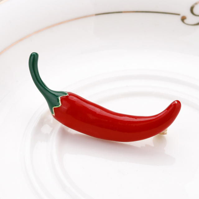 AENSOA Chili Brooch For Women Red Pepper Vegetables Alloy Enamel Brooches Pins Girls Suit Dress Accessories Jewelry Bijoux