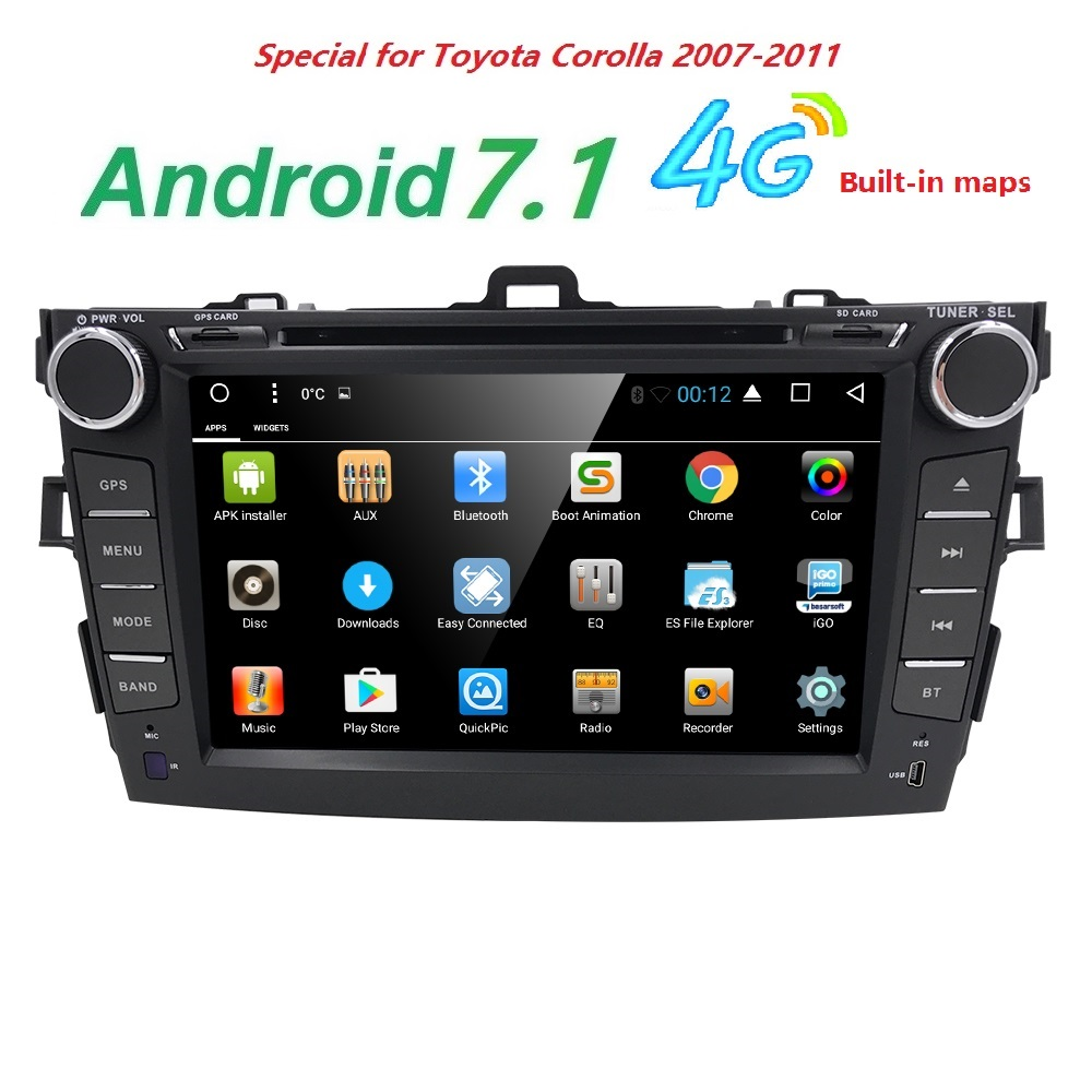 2 din car radio gps Android 7.1 Car DVD Player For Toyota corolla 2007 2008 2009 2010 2011 Multimedia head unit Wifi 4G in dash цены онлайн