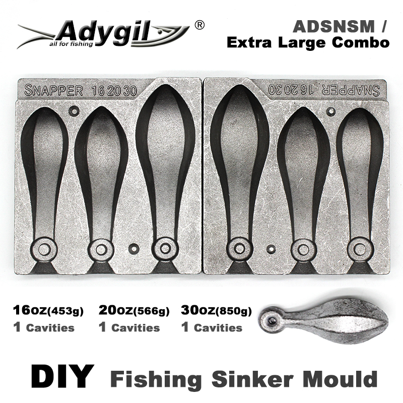 Adygil DIY Fishing Snapper Sinker Mould ADSNSM/Extra Large Combo Snapper Sinker 453g 566g 850g 3 Cavities
