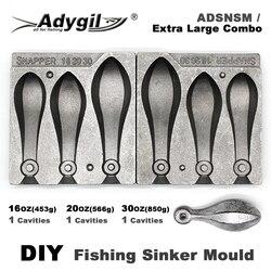 Adygil DIY Fishing Snapper Sinker mold ADSNSM/bardzo duża Combo Snapper Sinker 453g 566g 850g 3 ubytki w Narzędzia wędkarskie od Sport i rozrywka na