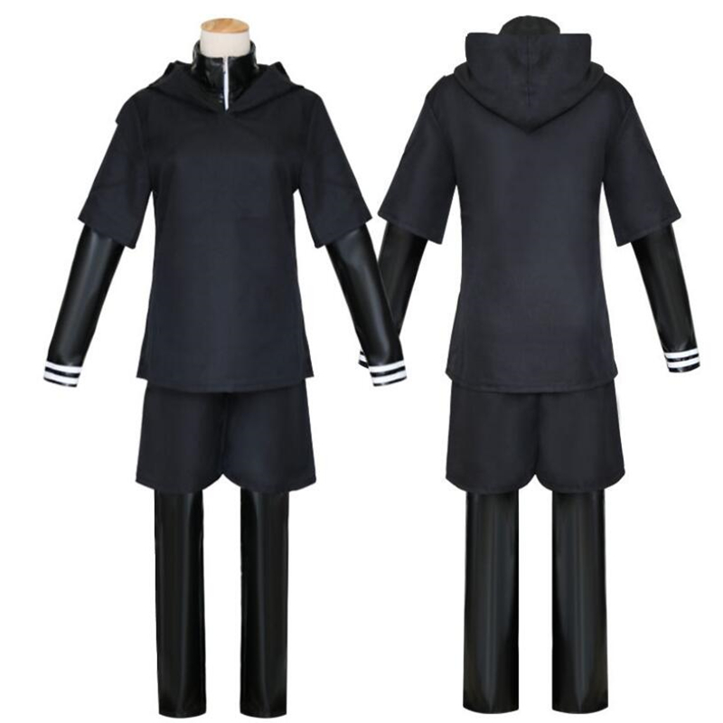 Anime Tokyo Ghoul Kaneki Ken Black Hoodie Sweater Leather Full Outfit Cosplay Costume